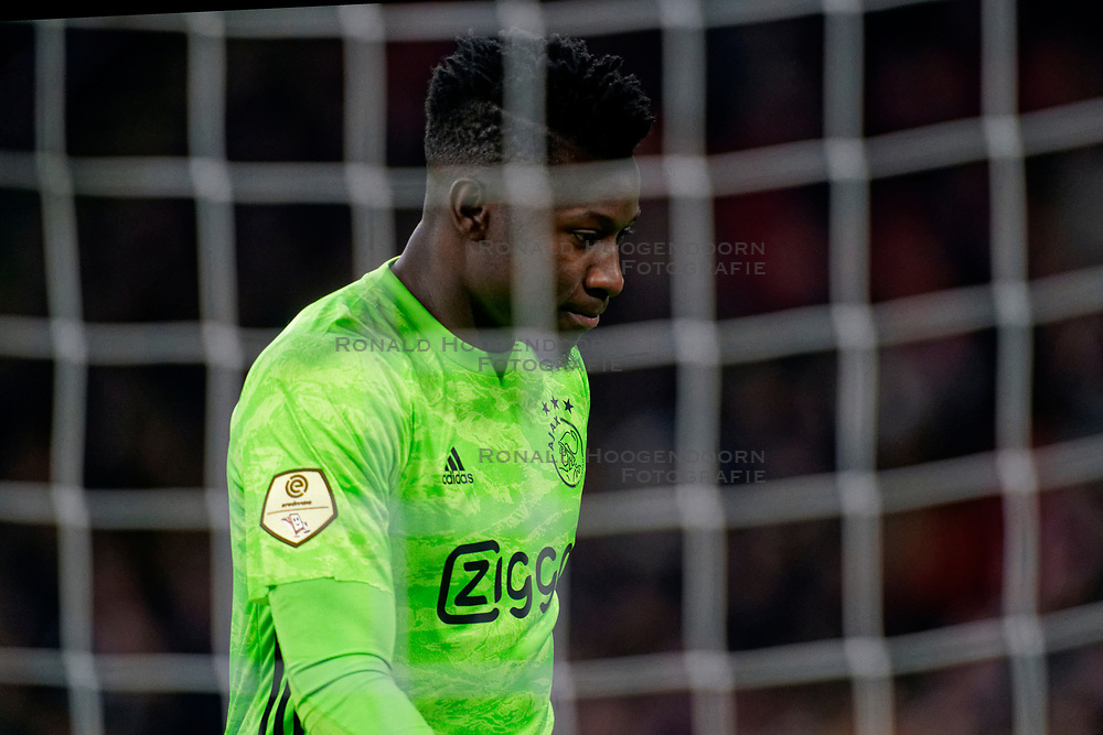 André Onana #24 of Ajax during the Dutch Eredivisie match round 25 between Ajax Amsterdam and AZ Alkmaar at the Johan Cruijff Arena on March 01, 2020 in Amsterdam, Netherlands