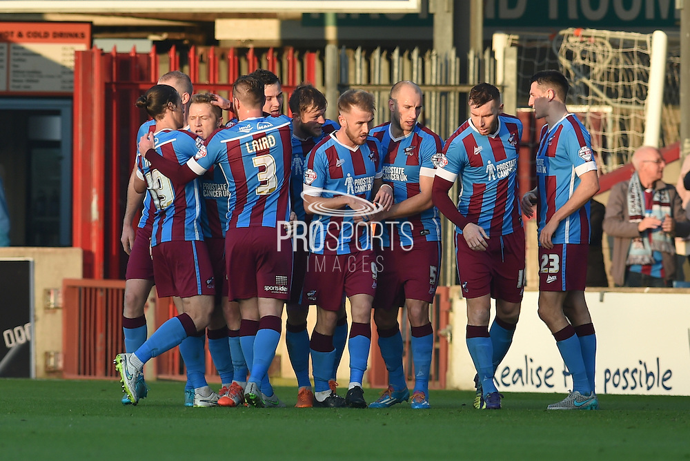 Scunthorpe celebrate Gary McSheffrey of Scunthorpe United scoring to go 2-0 up during the Sky Bet League 1 match between Scunthorpe United and Barnsley at Glanford Park, Scunthorpe, England on 31 October 2015. Photo by Ian Lyall.
