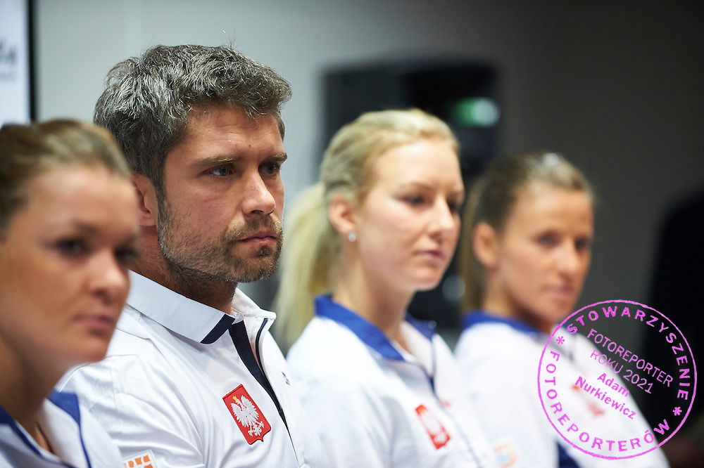 Trainer coach Tomasz Wiktorowski from Poland during official press conference three days before the Fed Cup / World Group 1st round tennis match between Poland and Russia at Krakow Arena on February 4, 2015 in Cracow, Poland<br /> Poland, Cracow, February 4, 2015<br /> <br /> Picture also available in RAW (NEF) or TIFF format on special request.<br /> <br /> For editorial use only. Any commercial or promotional use requires permission.<br /> <br /> Mandatory credit:<br /> Photo by &copy; Adam Nurkiewicz / Mediasport