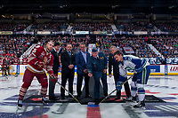 REGINA, SK - MAY 19: Ceremonial puck drop between the  Swift Current Broncos and the Acadie-Bathurst Titan at the Brandt Centre on May 19, 2018 in Regina, Canada. (Photo by Marissa Baecker/CHL Images)