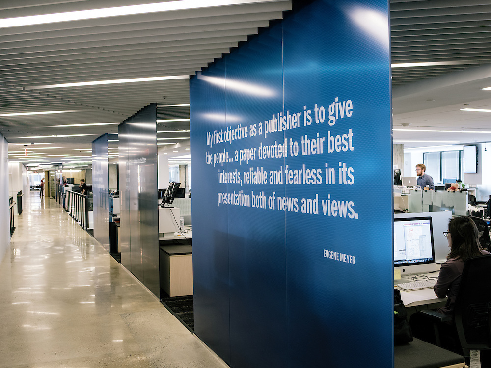 Quotes line the walls of the seventh floor newsroom at the Washington Post's new offices in Washington, D.C. on Sept. 12, 2016.