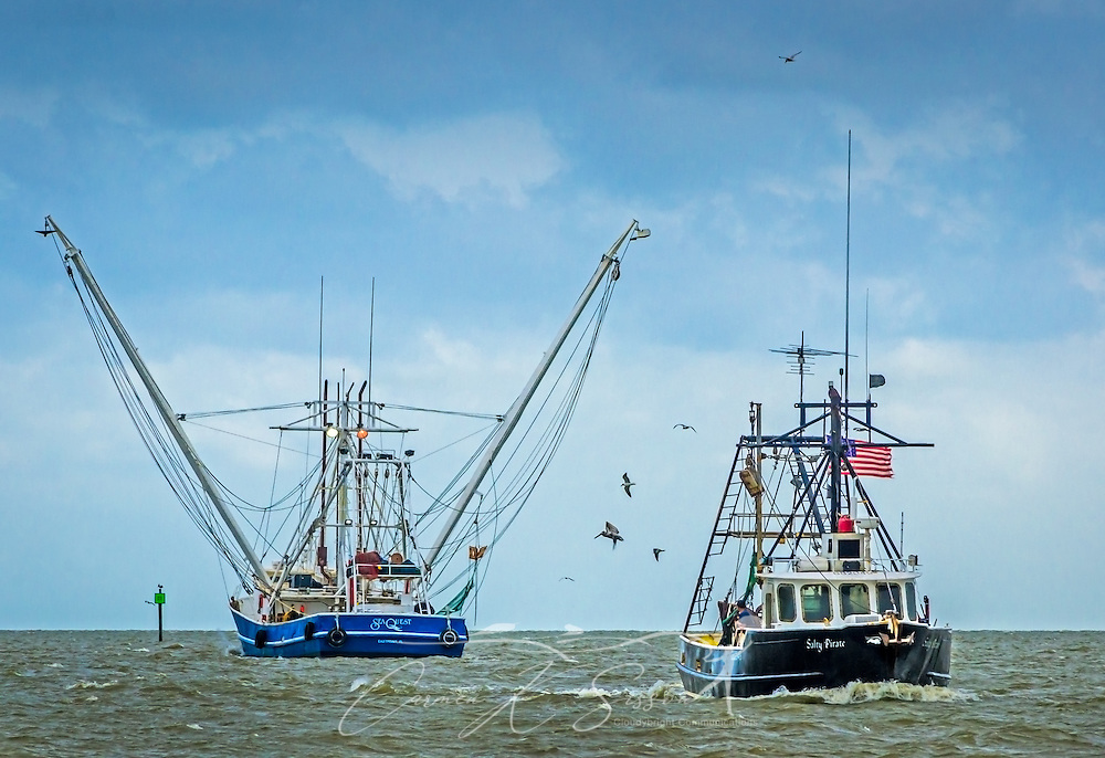 "The Sea Quest shrimp boat heads out of Bayou La Batre, Alabama, as the Salty Pirate comes in, May 16, 2015. Bayou La Batre is known as the ""Seafood Capital of Alabama."" (Photo by Carmen K. Sisson/Cloudybright)"