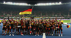 07.06.2014, Ernst Happel Stadion, Wien, AUT, American Football Europameisterschaft 2014, Finale, Oesterreich (AUT) vs Deutschland (GER), im Bild Jubel von Enrico Martini, (Team Germany, DB, #11) und Jan Hilgenfeldt, (Team Germany, WR, #87) // during the American Football European Championship 2014 final game between Austria and Denmark at the Ernst Happel Stadion, Vienna, Austria on 2014/06/07. EXPA Pictures © 2014, PhotoCredit: EXPA/ Thomas Haumer // during the American Football European Championship 2014 final game between Austria and Denmark at the Ernst Happel Stadion, Vienna, Austria on 2014/06/07. EXPA Pictures © 2014, PhotoCredit: EXPA/ Thomas Haumer