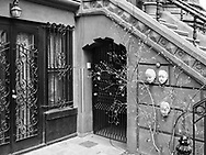 Entrance to a brownstone townhouse in Manhattan