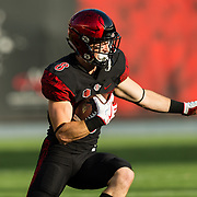 02 September 2017: San Diego State Aztecs wide receiver Quest Truxton #8 catches a pass in the first quarter. The Aztecs lead the Aggies 24-3 at the half at Qualcomm Stadium in San Diego, California. <br /> www.sdsuaztecphotos.com