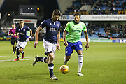 Ben Marshall of Millwall and Nathaniel Mendez-Laing of Cardiff City' during the EFL Sky Bet Championship match between Millwall and Cardiff City at The Den, London, England on 9 February 2018. Picture by Toyin Oshodi.