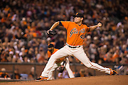 San Francisco Giants starting pitcher Matt Moore (45) pitches against the St. Louis Cardinals at AT&T Park in San Francisco, Calif., on September 16, 2016. (Stan Olszewski/Special to S.F. Examiner)