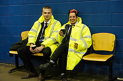 Pictured: Arkadiusz Gorgski and Yvonne Duncan in the middle of a 15 hours shift as security.<br /> The count has started for the Edinburgh Count as part of the Scottish Election 2016. A long night is anticipated with results predicted to start being announced around 7 AM<br /> <br /> <br /> <br /> Ger Harley | EEm 5 May 2016