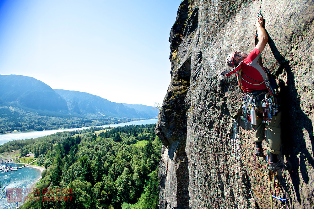 "Scott Petersen ""Plaidman"" solo aid climbs The Norseman on Beacon Rock. Beacon Rock is a prominent landmark near the Boneville Dam in the Columbia River Gorge."