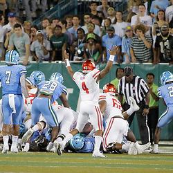 Sep 19, 2019; New Orleans, LA, USA; Houston Cougars quarterback D'Eriq King (4) celebrates after a touchdown  during the first half against the Tulane Green Wave at Yulman Stadium. Mandatory Credit: Derick E. Hingle-USA TODAY Sports