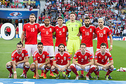 TOULOUSE, FRANCE - Monday, June 20, 2016: Wales players line-up for a pre game photograph ahead of the final Group B UEFA Euro 2016 Championship match against Russia at Stadium de Toulouse. Back Row LtR: Sam Vokes, Ashley Williams, James Chester, goalkeeper Wayne Hennessey, Joe Ledley, Aaron Ramsey, Front Row L-R: Gareth Bale, Neil Taylor, Joe Allen, Chris Gunter and Ben Davies. (Pic by Paul Greenwood/Propaganda)