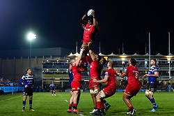 Maro Itoje of Saracens wins the ball at a lineout - Mandatory byline: Patrick Khachfe/JMP - 07966 386802 - 29/11/2019 - RUGBY UNION - The Recreation Ground - Bath, England - Bath Rugby v Saracens - Gallagher Premiership