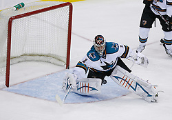 February 20, 2008; Newark, NJ, USA;  San Jose Sharks goalie Thomas Greiss (1) makes a save during the third period at the Prudential Center in Newark, NJ.  The Devils beat the Sharks 3-2.
