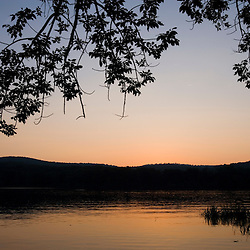 Dusk on the Connecticut River in Hurd State Park in Haddam, Connecticut.