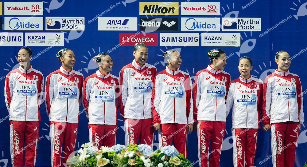 Podium<br /> Bronze Medal<br /> JPN - Japan<br /> HAKOYAMA Aika HAYASHI Aiko<br /> INUI Yukiko MARUMO Kei<br /> MITSUI Risako NAKAMAKI Kanami<br /> NAKAMURA Mai YOSHIDA Kurumi<br /> Team Free Final<br /> Day8 10/07/2015<br /> XVI FINA World Championships Aquatics<br /> Synchro<br /> Kazan Tatarstan RUS July 24 - Aug. 9 2015 <br /> Photo Pasquale Mesiano/Deepbluemedia/Insidefoto