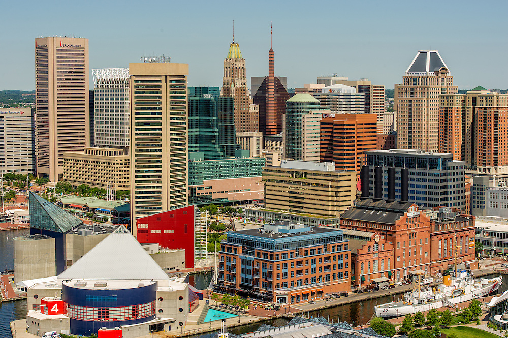 Maryland, Baltimore - Cityscape of the city of Baltimore and the harbor, popular Maryland attraction.