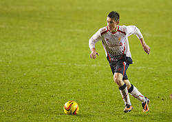 BLACKPOOL, ENGLAND - Wednesday, December 18, 2013: Liverpool's Cameron Brannagan in action against Blackpool during the FA Youth Cup 3rd Round match at Bloomfield Road. (Pic by David Rawcliffe/Propaganda)