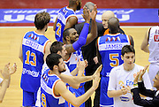 DESCRIZIONE : Milano Coppa Italia Final Eight 2014 Quarti Enel Brindisi Umana Venezia<br /> GIOCATORE : Ron Lewis<br /> CATEGORIA : esultanza mani post game<br /> SQUADRA : Enel Brindisi <br /> EVENTO : Beko Coppa Italia Final Eight 2014 <br /> GARA : Enel Brindisi Umana Venezia<br /> DATA : 07/02/2014 <br /> SPORT : Pallacanestro <br /> AUTORE : Agenzia Ciamillo-Castoria/N.Dalla Mura<br /> GALLERIA : Lega Basket Final Eight Coppa Italia 2014 FOTONOTIZIA : Milano Coppa Italia Final Eight 2014 Quarti Enel Brindisi Umana Venezia