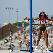 BARRETT - 13USA, Des Moines, Ia.  - Brigetta Barrett was ecstatic with her American personal best performance in the high jump.  Photo by David Peterson