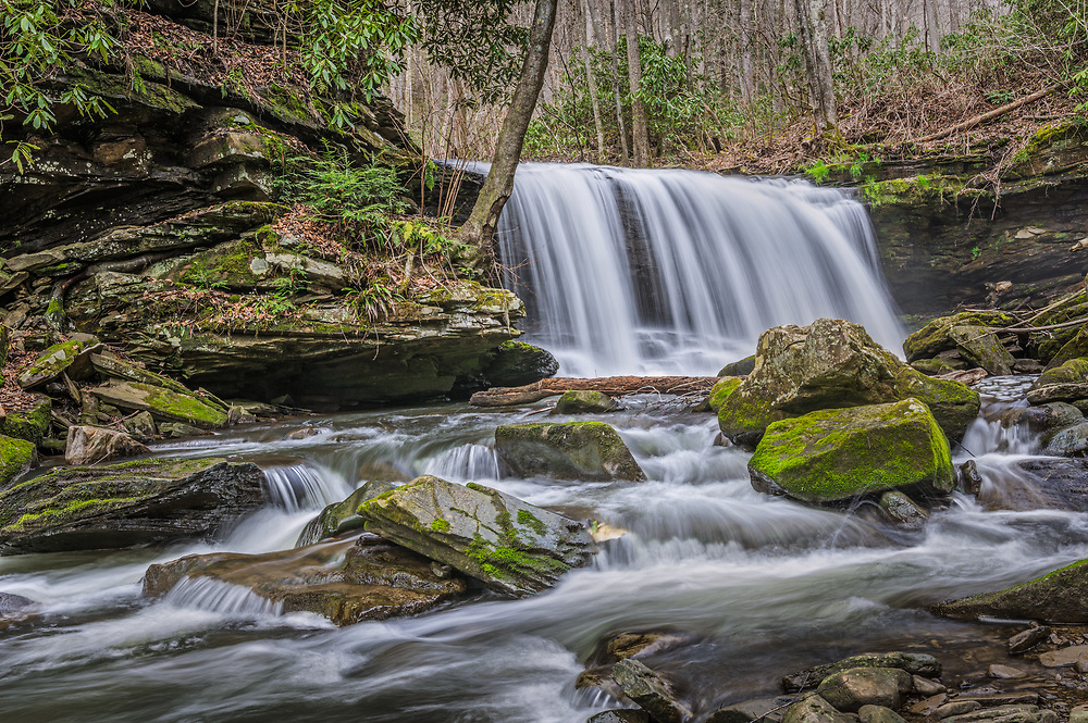This waterfall is one of many large drops found on Arbuckle Creek in the New River Gorge of West Virginia.