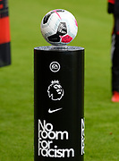 The match ball on a pedistool with a Kick it Out No Room For Racism logo ahead of the Premier League match between Bournemouth and Norwich City at the Vitality Stadium, Bournemouth, England on 19 October 2019.