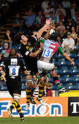 Wycombe, GREAT BRITAIN, High Ball Wasps Joe LEO, left jumps with Quins Hal LUSCOMBE and Chris HALA'UFIA during the Guinness Premiership match, London Wasps vs NEC Harlequins, at Adams Park,  Wycombe, ENGLAND, 17/09/2006. [Photo, Peter Spurrier/Intersport-images].