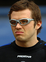 Photo: Paul Greenwood.<br />Bury FC v Wycombe Wanderers. Coca Cola League 2. 17/02/2007. Wycombe substitute Sam Stockley wearing protective glasses whilst warming up