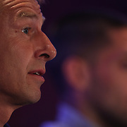 US Men's National Team Head Coach Jurgen Klinsmann (left), and Team Captain Clint Dempsey at the teams media conference at the Marriott Marquis, Times Square, New York,  USA. 30th May 2014. Photo Tim Clayton