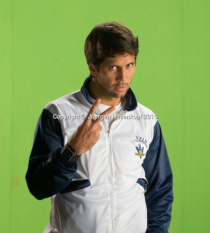Champions Tennis League 2015, Chennai,Fernando Verdasco (ESP) macht ein Promo Video,<br /> <br /> <br /> Tennis - Champions Tennis League 2015 -  -   - Chennai - Tamil Nadu - India  - 25 November 2015. <br /> &copy; Juergen Hasenkopf