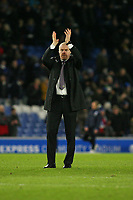 Football - 2017 / 2018 Premier League - Brighton and Hove Albion vs. Burnley<br /> <br /> Burnley Manager Sean Dyche applauds the traveling fans at the final whistle at The Amex Stadium Brighton <br /> <br /> COLORSPORT/SHAUN BOGGUST