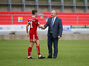 Accrington Stanley Manager John Coleman shakes hands with Accrington Stanley midfielder Sean McConville (11)  during the EFL Sky Bet League 1 match between Accrington Stanley and Burton Albion at the Fraser Eagle Stadium, Accrington, England on 8 September 2018.