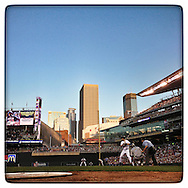 An Instagram of Justin Morneau of the Minnesota Twins batting at Target Field in Minneapolis, Minnesota.