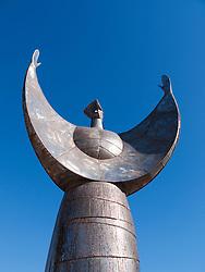 Modern steel sculpture at small village of Skala Eresou on Lesvos Island in Greece