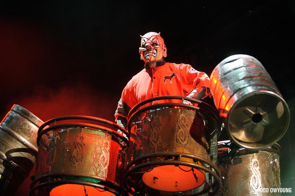 Slipknot performing at Mayhem Fest 2012 at Verizon Wireless Amphitheater in St. Louis, Missouri on July 20, 2012.