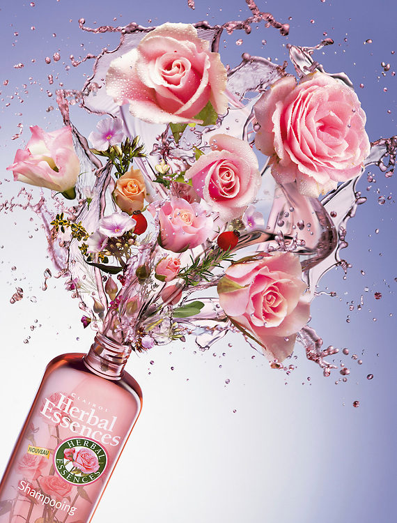 Flowers and liquid emitting from a bottle of Herbal essence shampoo Ray Massey is an established, award winning, UK professional  photographer, shooting creative advertising and editorial images from his stunning studio in a converted church in Camden Town, London NW1. Ray Massey specialises in drinks and liquids, still life and hands, product, gymnastics, special effects (sfx) and location photography. He is particularly known for dynamic high speed action shots of pours, bubbles, splashes and explosions in beers, champagnes, sodas, cocktails and beverages of all descriptions, as well as perfumes, paint, ink, water – even ice! Ray Massey works throughout the world with advertising agencies, designers, design groups, PR companies and directly with clients. He regularly manages the entire creative process, including post-production composition, manipulation and retouching, working with his team of retouchers to produce final images ready for publication.
