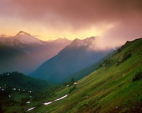 Setting sun through fog from Red pass along the Pacific Crest Trail, Glacier Peak Wilderness Washington USA