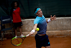 June 19, 2018 - L'Aquila, Italy - Agustin Velotti during match between Benjamin Hassan (GER) and Agustin Velotti (ARG) during day 4 at the Internazionali di Tennis Citt dell'Aquila (ATP Challenger L'Aquila) in L'Aquila, Italy, on June 19, 2018. (Credit Image: © Manuel Romano/NurPhoto via ZUMA Press)