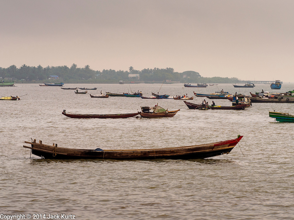 11 NOVEMBER 2014 - SITTWE, MYANMAR: Boats in the harbor in Sittwe, Myanmar. Sittwe is a small town in the Myanmar state of Rakhine, on the Bay of Bengal.   PHOTO BY JACK KURTZ