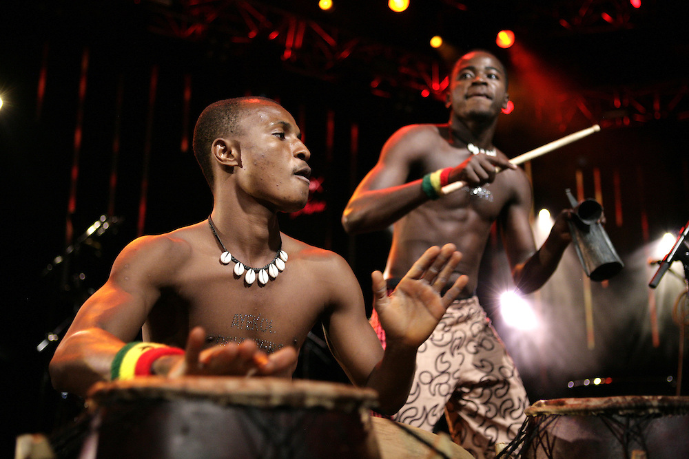 Ayeko drummers performing at the 43rd Montreux Jazz Festival, Switzerland.
