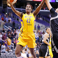 22 June 2014: center Jantel Lavender (42) of the Los Angeles Sparks goes for the layup during the San Antonio Stars 72-69 victory over the Los Angeles Sparks, at the Staples Center, Los Angeles, California, USA.