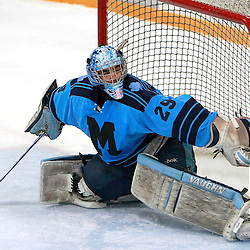 AURORA, ON - Jan 18 : Ontario Junior Hockey League Game Action between the St. Michael's Buzzers and the Aurora Tigers, George Argiropoulos #29 of the St.Michael's Buzzers Hockey Club makes the save during third period game action.<br /> (Photo by Brian Watts / OJHL Images)