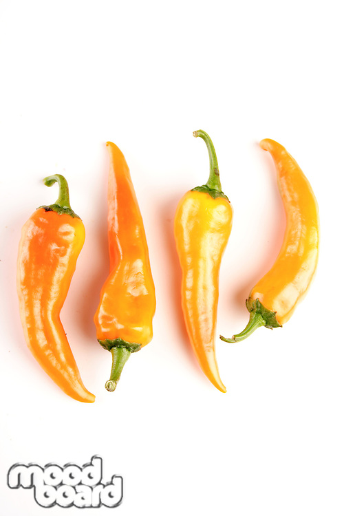 Chilli peppers on white background