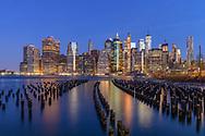 Pilings, Brooklyn Bridge Park and Lower Manhattan Skyline, NYC, NY