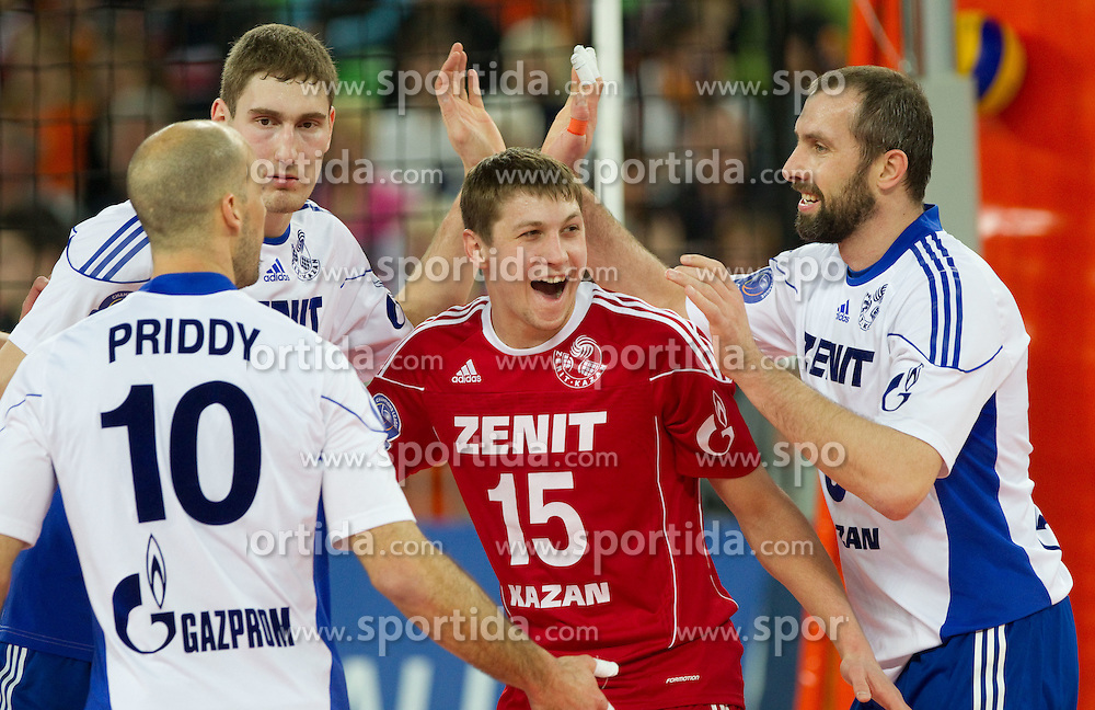 Alexey Obmochaev of Zenit celebrate during volleyball match between ACH Volley (SLO) and Zenit Kazan (RUS) in Playoffs 12 Round of 2011 CEV Champions League, on February 2, 2011 in Arena Stozice, Ljubljana, Slovenia. Zenit defeated ACH Volley 3-0. (Photo By Vid Ponikvar / Sportida.com)