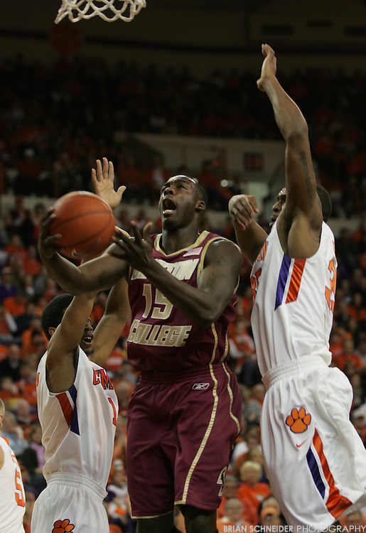 Jan 9, 2010; Clemson, SC, USA; Boston College Eagles forward Rakim Sanders (15) attempts a layup against Clemson Tigers forward Trevor Booker (right) during the first half at Littlejohn Coliseum. Mandatory Credit: Brian Schneider-www.ebrianschneider.com