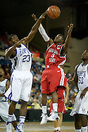 November 29, 2008: Hampton's Kwame Morgan (23) blocks a shot by San Diego State's Richie Williams (3) in the championship game of the 2008 Great Alaska Shootout at the Sullivan Arena.  San Diego State would keep Hampton scoreless for most of the first 7 minutes of the game and never look back on the Aztec's run to the win Saturday night.