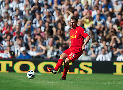 WEST BROMWICH, ENGLAND - Saturday, August 18, 2012: Liverpool's Jamie Carragher in action against West Bromwich Albion during the opening Premiership match of the season at the Hawthorns. (Pic by David Rawcliffe/Propaganda)
