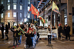 February 5, 2018 - Athens, Greece - Kurds march to the Turkish embassy protesting for the bombing of Kurdish controlled city of Afrin in Syria by Turkish forces. (Credit Image: © Giorgos Zachos/SOPA via ZUMA Wire)