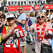 People dressing up St George costume attends the Feast of St George to celebrate English culture with music and English food stalls in Trafalgar Square on 20 April 2019, London, UK.