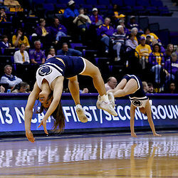 Mar 24, 2013; Baton Rouge, LA, USA; Penn State Lady Lions cheerleaders perform in the second half of a game against the Cal Poly Mustangs during the first round of the 2013 NCAA womens basketball tournament at the Pete Maravich Assembly Center. Penn State defeated Cal Poly 85-55. Mandatory Credit: Derick E. Hingle-USA TODAY Sports